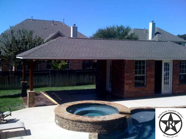 Robertson custom homes construction photos pool cabana for Custom pool cabanas